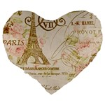 Floral Eiffel Tower Vintage French Paris Art 19  Premium Heart Shape Cushion Back