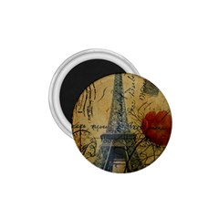 Vintage Stamps Postage Poppy Flower Floral Eiffel Tower Vintage Paris 1 75  Button Magnet