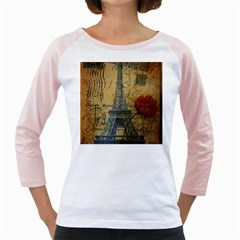 Vintage Stamps Postage Poppy Flower Floral Eiffel Tower Vintage Paris Womens  Long Sleeve Raglan T Shirt (white) by chicelegantboutique