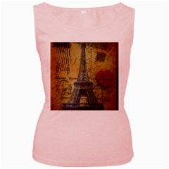 Vintage Stamps Postage Poppy Flower Floral Eiffel Tower Vintage Paris Womens  Tank Top (pink) by chicelegantboutique