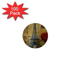 Vintage Stamps Postage Poppy Flower Floral Eiffel Tower Vintage Paris 1  Mini Button (100 Pack)