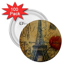 Vintage Stamps Postage Poppy Flower Floral Eiffel Tower Vintage Paris 2 25  Button (100 Pack) by chicelegantboutique