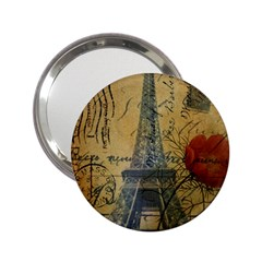 Vintage Stamps Postage Poppy Flower Floral Eiffel Tower Vintage Paris Handbag Mirror (2 25 ) by chicelegantboutique