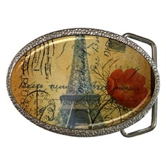 Vintage Stamps Postage Poppy Flower Floral Eiffel Tower Vintage Paris Belt Buckle (oval) by chicelegantboutique