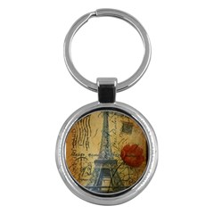 Vintage Stamps Postage Poppy Flower Floral Eiffel Tower Vintage Paris Key Chain (round) by chicelegantboutique