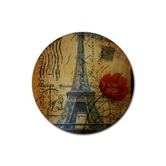 Vintage Stamps Postage Poppy Flower Floral Eiffel Tower Vintage Paris Drink Coaster (round) by chicelegantboutique