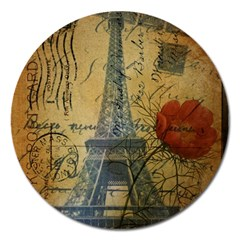 Vintage Stamps Postage Poppy Flower Floral Eiffel Tower Vintage Paris Magnet 5  (round) by chicelegantboutique