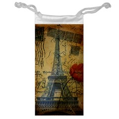 Vintage Stamps Postage Poppy Flower Floral Eiffel Tower Vintage Paris Jewelry Bag by chicelegantboutique