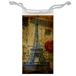Vintage Stamps Postage Poppy Flower Floral Eiffel Tower Vintage Paris Jewelry Bag Front