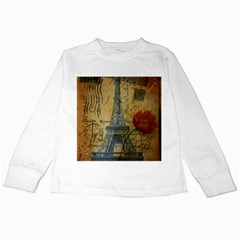 Vintage Stamps Postage Poppy Flower Floral Eiffel Tower Vintage Paris Kids Long Sleeve T-shirt by chicelegantboutique