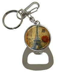 Vintage Stamps Postage Poppy Flower Floral Eiffel Tower Vintage Paris Bottle Opener Key Chain