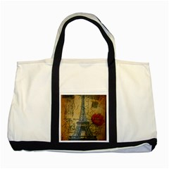 Vintage Stamps Postage Poppy Flower Floral Eiffel Tower Vintage Paris Two Toned Tote Bag