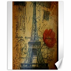 Vintage Stamps Postage Poppy Flower Floral Eiffel Tower Vintage Paris Canvas 16  X 20  (unframed)