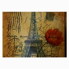 Vintage Stamps Postage Poppy Flower Floral Eiffel Tower Vintage Paris Glasses Cloth (large, Two Sided) by chicelegantboutique