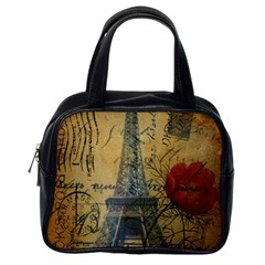 Vintage Stamps Postage Poppy Flower Floral Eiffel Tower Vintage Paris Classic Handbag (one Side) by chicelegantboutique