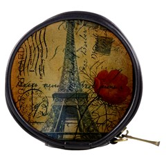 Vintage Stamps Postage Poppy Flower Floral Eiffel Tower Vintage Paris Mini Makeup Case by chicelegantboutique