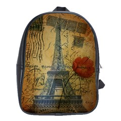 Vintage Stamps Postage Poppy Flower Floral Eiffel Tower Vintage Paris School Bag (large) by chicelegantboutique