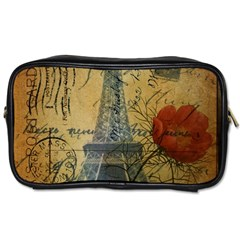 Vintage Stamps Postage Poppy Flower Floral Eiffel Tower Vintage Paris Travel Toiletry Bag (two Sides) by chicelegantboutique
