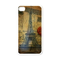 Vintage Stamps Postage Poppy Flower Floral Eiffel Tower Vintage Paris Apple Iphone 4 Case (white) by chicelegantboutique