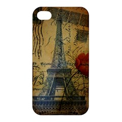 Vintage Stamps Postage Poppy Flower Floral Eiffel Tower Vintage Paris Apple Iphone 4/4s Hardshell Case by chicelegantboutique