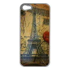 Vintage Stamps Postage Poppy Flower Floral Eiffel Tower Vintage Paris Apple Iphone 5 Case (silver) by chicelegantboutique