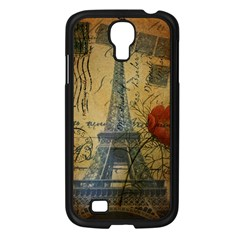 Vintage Stamps Postage Poppy Flower Floral Eiffel Tower Vintage Paris Samsung Galaxy S4 I9500/ I9505 (black) by chicelegantboutique