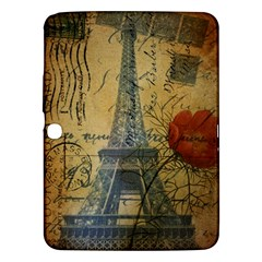 Vintage Stamps Postage Poppy Flower Floral Eiffel Tower Vintage Paris Samsung Galaxy Tab 3 (10 1 ) P5200 Hardshell Case  by chicelegantboutique
