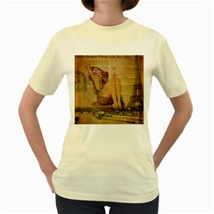 Vintage Newspaper Print Pin Up Girl Paris Eiffel Tower  Womens  T Shirt (yellow) by chicelegantboutique