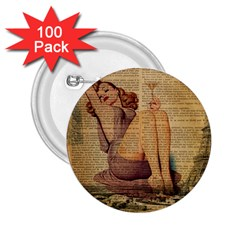 Vintage Newspaper Print Pin Up Girl Paris Eiffel Tower 2 25  Button (100 Pack) by chicelegantboutique