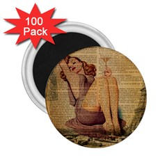 Vintage Newspaper Print Pin Up Girl Paris Eiffel Tower 2 25  Button Magnet (100 Pack) by chicelegantboutique