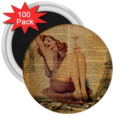 Vintage Newspaper Print Pin Up Girl Paris Eiffel Tower 3  Button Magnet (100 Pack) by chicelegantboutique