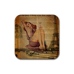 Vintage Newspaper Print Pin Up Girl Paris Eiffel Tower Drink Coaster (square) by chicelegantboutique