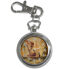 Vintage Newspaper Print Pin Up Girl Paris Eiffel Tower Key Chain & Watch by chicelegantboutique