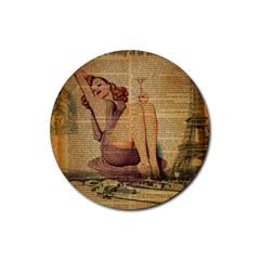 Vintage Newspaper Print Pin Up Girl Paris Eiffel Tower Drink Coaster (round) by chicelegantboutique