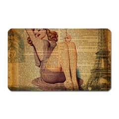 Vintage Newspaper Print Pin Up Girl Paris Eiffel Tower Magnet (rectangular) by chicelegantboutique