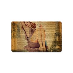 Vintage Newspaper Print Pin Up Girl Paris Eiffel Tower Magnet (name Card) by chicelegantboutique