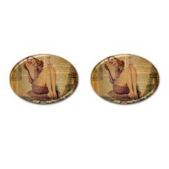 Vintage Newspaper Print Pin Up Girl Paris Eiffel Tower Cufflinks (oval) by chicelegantboutique