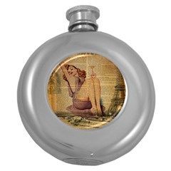 Vintage Newspaper Print Pin Up Girl Paris Eiffel Tower Hip Flask (round) by chicelegantboutique