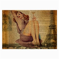 Vintage Newspaper Print Pin Up Girl Paris Eiffel Tower Glasses Cloth (large) by chicelegantboutique