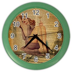 Vintage Newspaper Print Pin Up Girl Paris Eiffel Tower Wall Clock (color) by chicelegantboutique