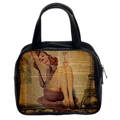 Vintage Newspaper Print Pin Up Girl Paris Eiffel Tower Classic Handbag (two Sides) by chicelegantboutique