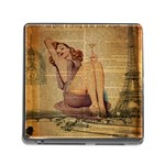 Vintage Newspaper Print Pin Up Girl Paris Eiffel Tower Memory Card Reader with Storage (Square) Front