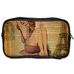 Vintage Newspaper Print Pin Up Girl Paris Eiffel Tower Travel Toiletry Bag (one Side) by chicelegantboutique