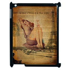 Vintage Newspaper Print Pin Up Girl Paris Eiffel Tower Apple Ipad 2 Case (black) by chicelegantboutique