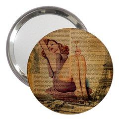 Vintage Newspaper Print Pin Up Girl Paris Eiffel Tower 3  Handbag Mirror by chicelegantboutique