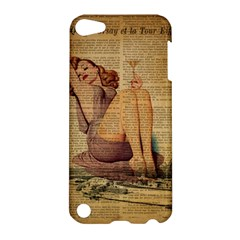Vintage Newspaper Print Pin Up Girl Paris Eiffel Tower Apple Ipod Touch 5 Hardshell Case by chicelegantboutique