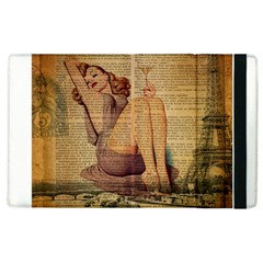 Vintage Newspaper Print Pin Up Girl Paris Eiffel Tower Apple Ipad 3/4 Flip Case by chicelegantboutique