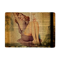 Vintage Newspaper Print Pin Up Girl Paris Eiffel Tower Apple Ipad Mini Flip Case by chicelegantboutique