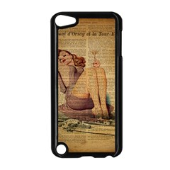Vintage Newspaper Print Pin Up Girl Paris Eiffel Tower Apple Ipod Touch 5 Case (black) by chicelegantboutique