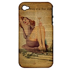 Vintage Newspaper Print Pin Up Girl Paris Eiffel Tower Apple Iphone 4/4s Hardshell Case (pc+silicone) by chicelegantboutique